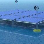 Плавающая платформа, которая производит энергию от волн, ветра и солнца